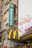 Mc Donalds restaurant. POZNAN, POLAND - FEBRUARY 19, 2013: Electric sign of a Mc Donalds fast food restaurant Stock Photos