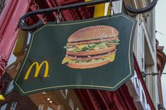 Mc Donalds Sign At Amsterdam The Netherlands Stock Images