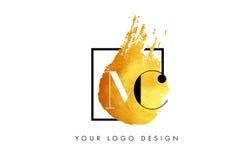 MC Gouden Brief Logo Painted Brush Texture Strokes Royalty-vrije Stock Foto's