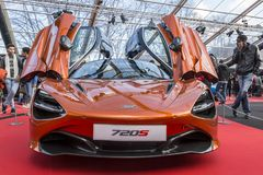 Mc Laren 720S Coupe - The Most Beautiful Supercar of 2017. PARIS, FRANCE - FEBRUARY 04, 2018: Alpine A110, the most beautiful supercar of 2017 is shown at the Stock Image