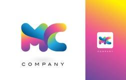 MC Logo Letter With Rainbow Vibrant Mooie Kleuren Kleurrijk t Royalty-vrije Stock Foto's