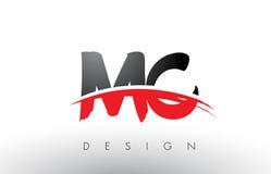 MC M C Brush Logo Letters avec l'avant de brosse de bruissement de rouge et de noir Images stock