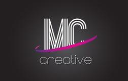 MC M C Letter Logo com linhas projeto e Swoosh roxo Fotos de Stock Royalty Free