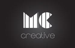 MC M C Letter Logo Design With White et lignes noires Photographie stock libre de droits