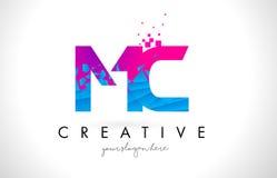 MC M C Letter Logo with Shattered Broken Blue Pink Texture Desig Stock Image