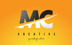 MC M C Letter Modern Logo Design with Yellow Background and Swoo. MC M C Letter Modern Logo Design with Swoosh Cutting the Middle Letters and Yellow Background Royalty Free Stock Image