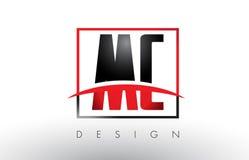 MC M C Logo Letters avec des couleurs et le bruissement rouges et noirs illustration libre de droits