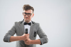 Mc posing with microphone Royalty Free Stock Photo