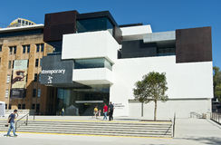 MCA Sydney. The MCAs new wing that opend to the public today 29th March 2012 at Circular quay Sydney with people entering and standing on forecourt stock photo