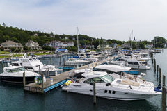 Mcakinac island dock. Yactch dock at water front of Mackinac island Stock Image