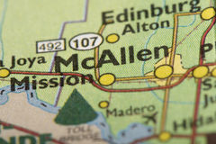 McAllen, Texas on map. Closeup of McAllen, Texas on a political map of the United States stock photo