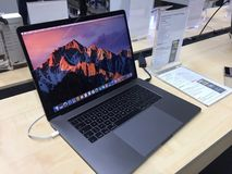 McBook Pro computer laptop. Berlin, Germany - February 7, 2018: McBook Pro computer laptop in Medimax store. Apple is an American multinational technology Stock Photography