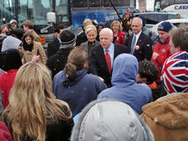 McCain Campaigns in Ohio 6. Presidential hopeful Senator John McCain greets crowd in front of Young's Dairy in Yellow Springs, Ohio February 20, 2008 Royalty Free Stock Image