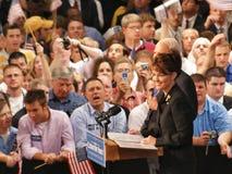 McCain escoge Palin en Dayton, Ohio el 29 de agosto de 2008 Imagenes de archivo