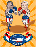 McCain and Obama. Vector art of Obama and  as democrat and republican boxers retro poster style Royalty Free Stock Images