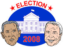 McCain and Obama. John McCain  and Barack Obama portrait with flag in the background Royalty Free Stock Photos