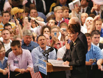 McCain Picks Palin in Dayton, Ohio Aug 29 2008. Republican Presidential candidate John McCain's Vice President pick, Sarah Palin, in Dayton, Ohio at Wright State Stock Images