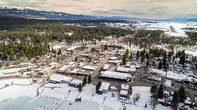High elevation overhead view of McCall Idaho with mountains and Royalty Free Stock Photos