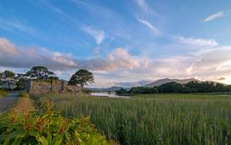 McCarthy Mor Irish castle ruins at Lough Leane in Killarney Ireland. McCarthy Mor Irish castle ruins on the Ring of Kerry at Lough Leane in Killarney Ireland royalty free stock photography