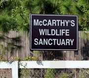 McCarthy`s Wildlife Sanctuary Sign Stock Photo