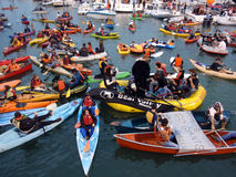 McCovey Cove filled with kayaks, boats and people Royalty Free Stock Photography