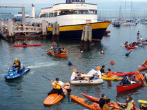 McCovey Cove filled with people on rafts, Kayaks Stock Photo