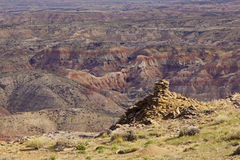 McCullough Peaks badlands and cairn Stock Photo