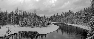McDONALD CREEK PANORAMA IN BLACK AND WHITE Stock Photography