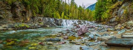 McDonald Creek. Panoramic Composition Of Rapids Along McDonald Creek, Glacier National Park, Montana Royalty Free Stock Photos