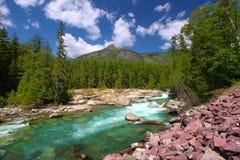 McDonald-Nebenfluss-Gletscher-Nationalpark Stockbild