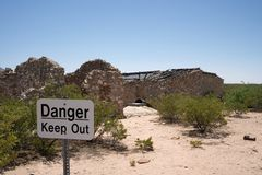 McDonald ranch house ruins. The first nuclear weapon (known as the trinity test) was detonated a few miles from here in 1945.  The device was assembled here at Royalty Free Stock Images