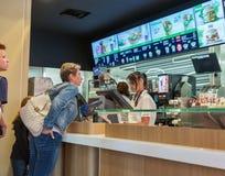 McDonald restaurant interior in Graz, Austria Stock Photography