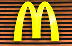 Mcdonald's. Big yellow sparkle mcdonald's logo at dongmen store,  shenzhen city,china Stock Photos