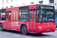 McDonalds ads on bus Royalty Free Stock Photo