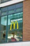 McDonald's fast food restaurant - window with logo Royalty Free Stock Photo