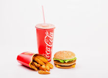 McDonald`s food isolated includes Big Mac, French Fries and Coca Royalty Free Stock Photography