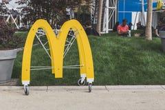 McDonald's logo at Expo 2015 in Milan, Italy Royalty Free Stock Image
