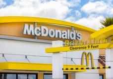 McDonald`s Restaurant and Drive-Thru. SALINAS,CA/USA - APRIL 27, 2014: McDonald`s fast food restaurant exterior and drive-thru entrance Royalty Free Stock Photos