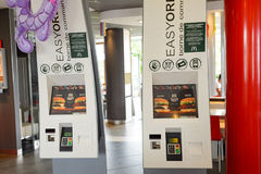 McDonald's restaurant. LE PIAN-MEDOC, FRANCE - AUGUST 13, 2015: interior of McDonald's restaurant. McDonald's is the world's largest chain of hamburger fast food Stock Photo