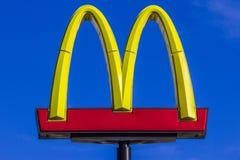 Indianapolis - Circa October 2017: McDonald`s Restaurant Location. McDonald`s is a Chain of Hamburger Restaurants XIX Stock Images