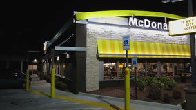 McDonald's Restaurant at Night stock video footage