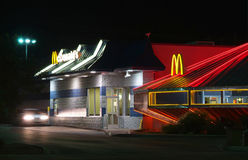 McDonald's Restaurant in Roswell. ROSWELL, NEW MEXICO – OCT 14: McDonald's Restaurant in Roswell, New Mexico as seen at night on October 14, 2008. The only UFO Stock Image