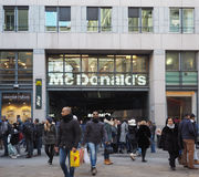 McDonald storefront in Milan. MILAN, ITALY - CIRCA JANUARY 2017: McDonald restaurant storefront Royalty Free Stock Images