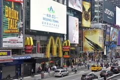 McDonalds in Times Square in New York City. McDonalds and billboards in the busy Times Square, New York City, USA stock image