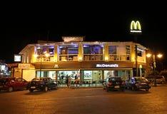 McDonalds in Faliraki, Rhodes island, Greece. Mc Donalds fast food restaurant by night in Faliraki resort, Greece, Rhodes island. September 2015 Royalty Free Stock Photography