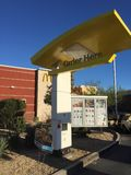 McDonalds Fast Food Menu Sign. Outside of a drive thru a restaurant Royalty Free Stock Photography
