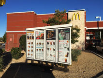 McDonalds Fast Food Menu Sign. Outside of a drive thru a restaurant Stock Images