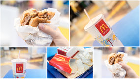 McDonalds Hamburger, Juice And Leftovers In Fast Food Restaurant Royalty Free Stock Image
