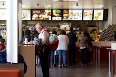 McDonalds. LISBON, PORTUGAL - MAY 29, 2014: Inside a McDonalds in Lisbon. McDonalds is the world's largest fast food chain, over 31,000 restaurants worldwide Royalty Free Stock Image