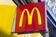 McDonalds Logo. LONDON, UK - FEBRUARY 16TH 2018: The logo of the McDonalds restaurant located on Oxford Street in London, on 16th February 2018 Royalty Free Stock Images